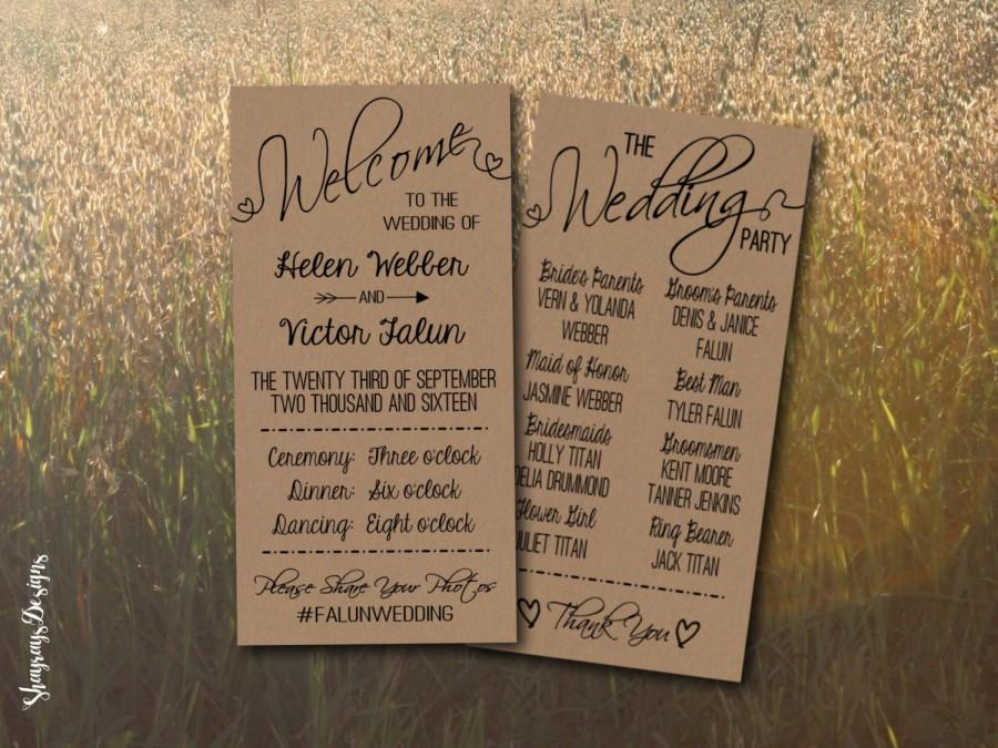 kraft wedding program printable rustic wedding program template