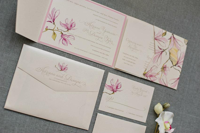 Blush Pink Wedding Invitation Fl Pocket Garden Elegant Invite Adrianna And Dwayne