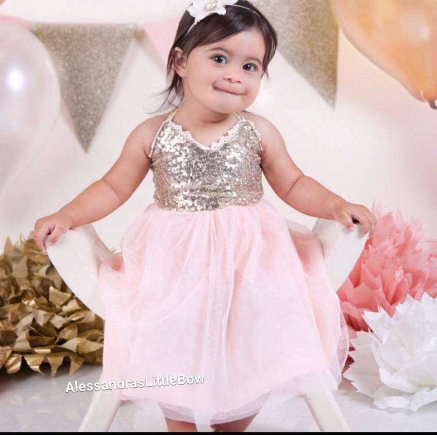 Hochzeit - pink and gold girls sequin dress toddler girls gold sparkle dress first birthday outfit flower girl dress sequin tutu dress girls dresses