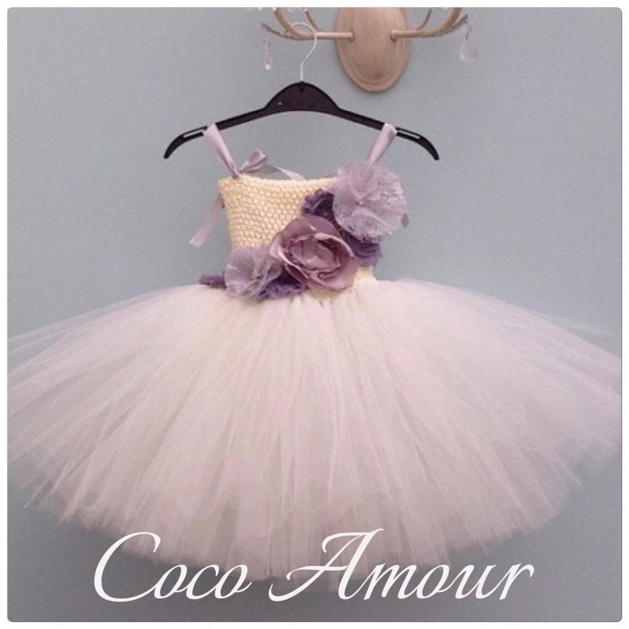 زفاف - Ivory Flower Girl Tutu Dress, Vintage Inspired, shabby chic flowers - any age/colour, Tutu Dress, Wedding, Bridesmaid