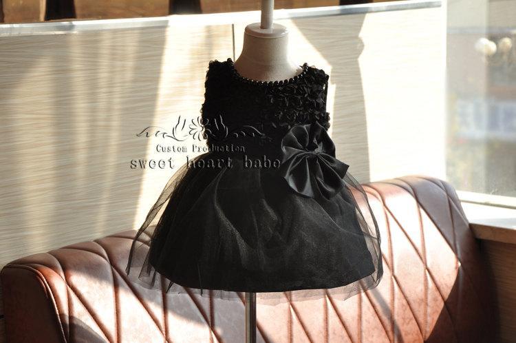 زفاف - Flower Girl Dress -Black tutu flower girl dress -junior bridesmaid dress -party dress- Baby tutu  Dress -  tulle Flower girl Dress -sw