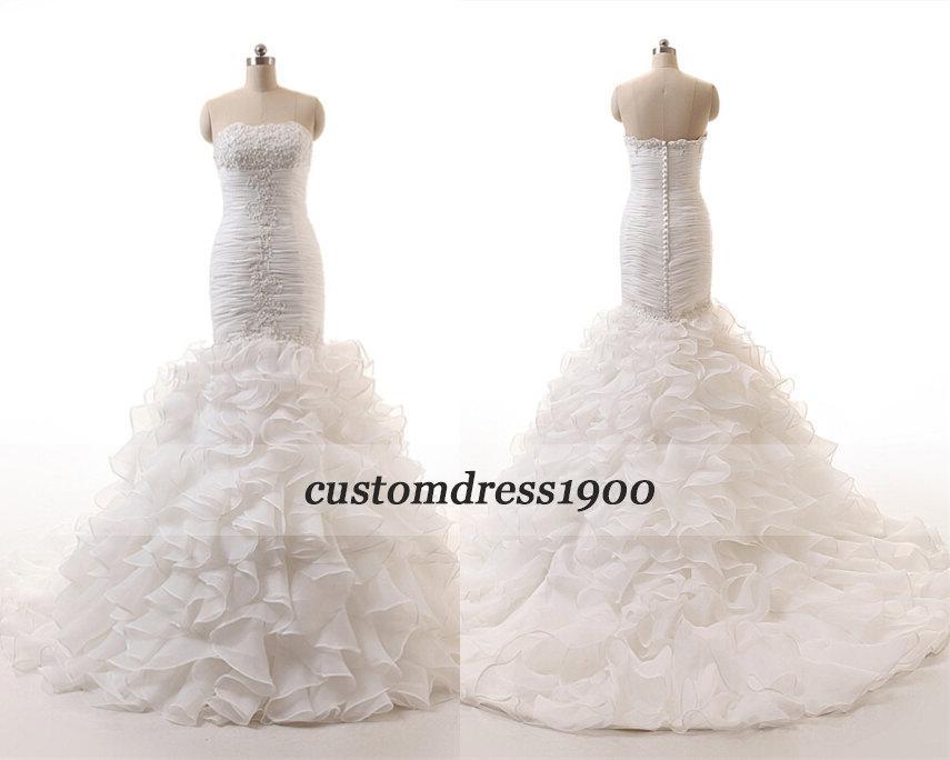 زفاف - 100% Top Quality Handmade Ruffle Organza Wedding Gowns Strapless Elegant  Mermaid Appliqued Wedding Dresses