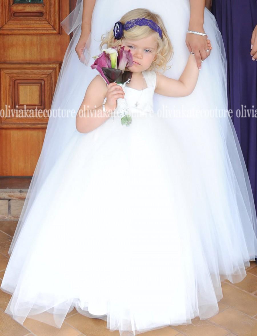 زفاف - Cotton Flower Girl Dress Floor Length