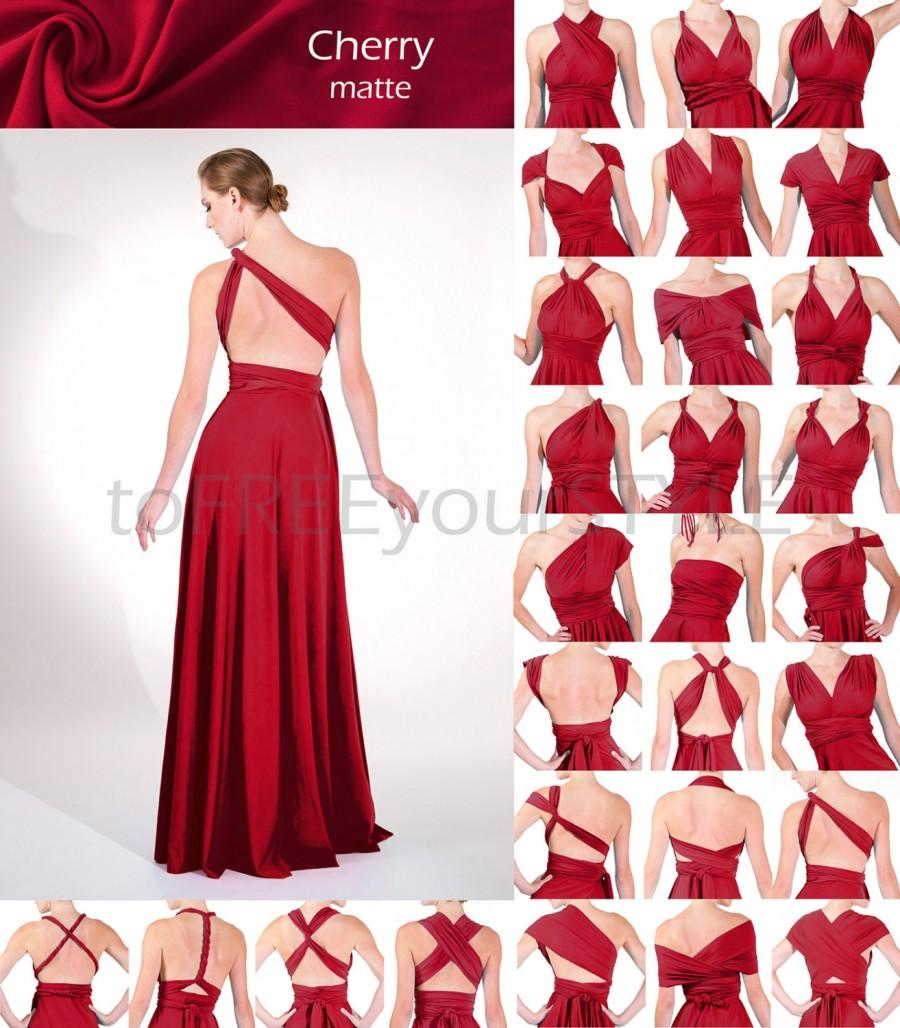 Long Infinity Dress In CHERRY Red Matte, FULL Free-Style Dress, Maxi ...
