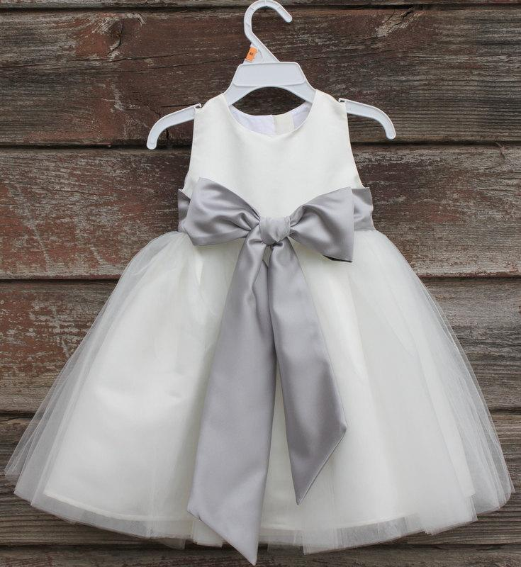 82303320df2 Ivory Flower Girl dress bow sash pageant silver wedding bridal children  bridesmaid toddler elegant