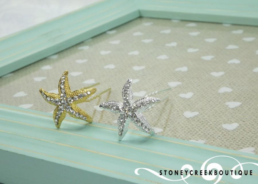 Boda - STARFISH Hair Pins, Crystal Hair Pins, Beach Wedding, Crystal Bobby Pins, Hair Clips, Bridesmaid Hair Accessories