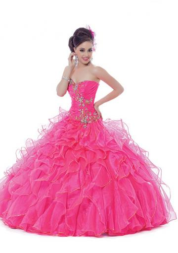 Wedding - Ruffled Lace Up Fuchsia Tulle Crystals Sleeveless Sweetheart Floor Length