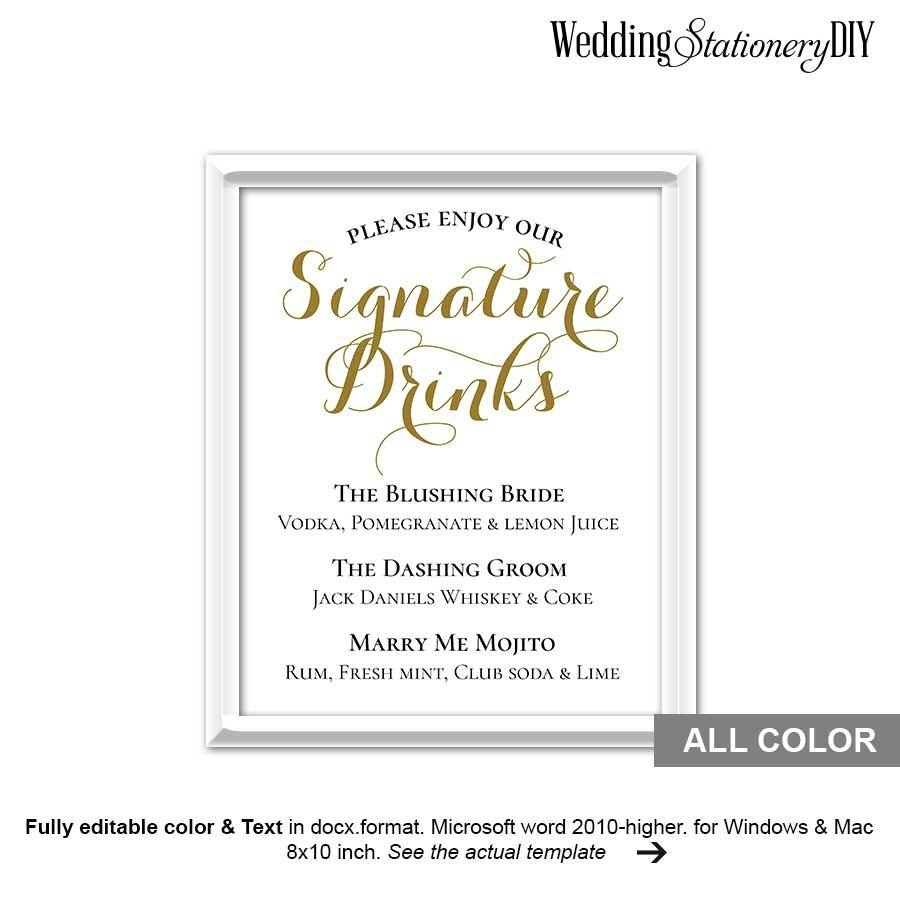 Gold wedding signature drink sign printable 2534323 for Wedding drink menu template free