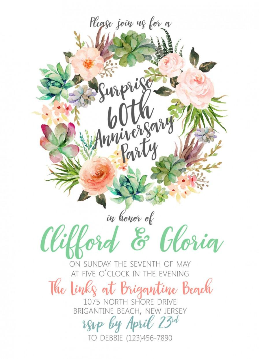 Succulent wreath weddinganniversarybridal shower invitation succulent wreath weddinganniversarybridal shower invitation custom digital file garden party invitation water color pastels filmwisefo