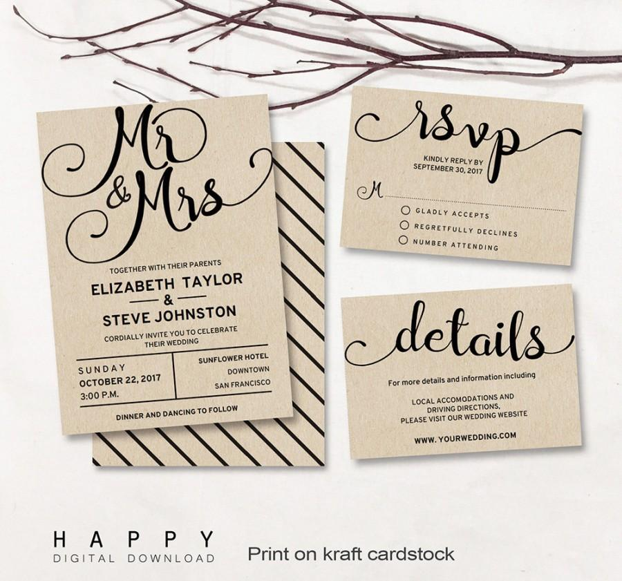 Printable Wedding Invitation Set Editable Modern Wedding Invitation