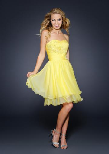 Wedding - Yellow Sleeveless Short Dress