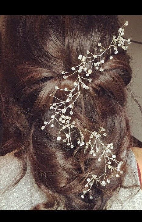 Свадьба - Wedding hair vine. Bridal hair vine Crystal hair vine. Swarovski crystal hairvine. Bridal wedding hair accessories. Hair jewellery