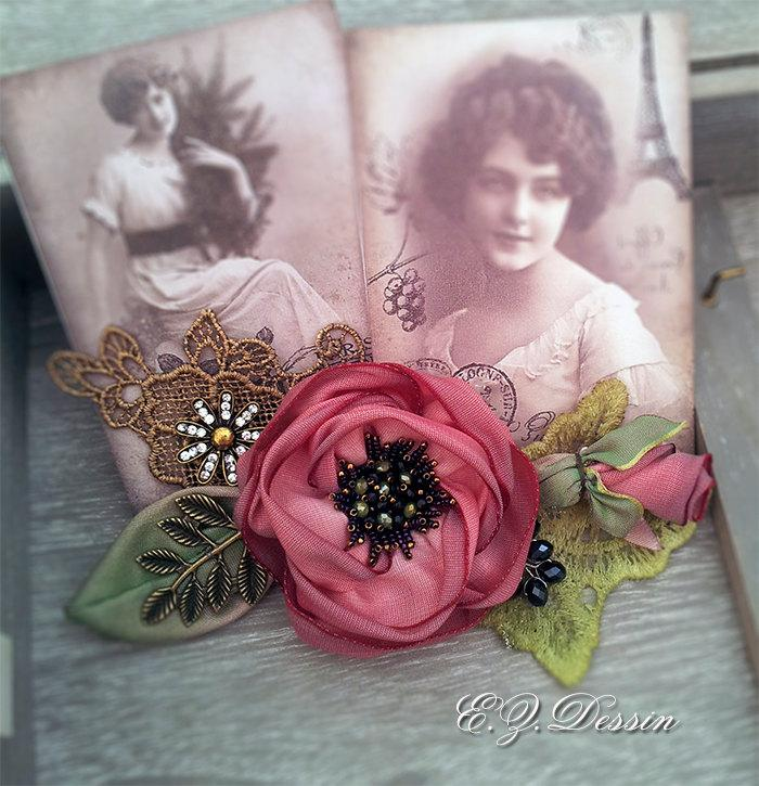 Свадьба - Vintage hair accessories. Decorative Applique .Red flowers.