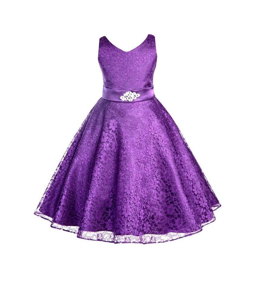 Hochzeit - Wedding floral Lace overlay V-Neck purple Flower girl dress Rhinestone Brooch bridesmaid toddler kids fashion sizes 4 6 8 10 12 14 16 #166