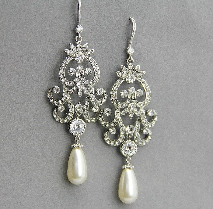 Свадьба - Long Bridal Chandelier Earrings ,  Long  Wedding Earrings ,Crystal and Pearl Earrings, Vintage Style Jewelry ,Crystal Chandelier Earrings
