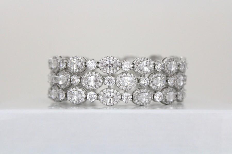 Crystal Bridal Bracelet Wedding Jewelry Tennis Cuff Rhinestone Statement