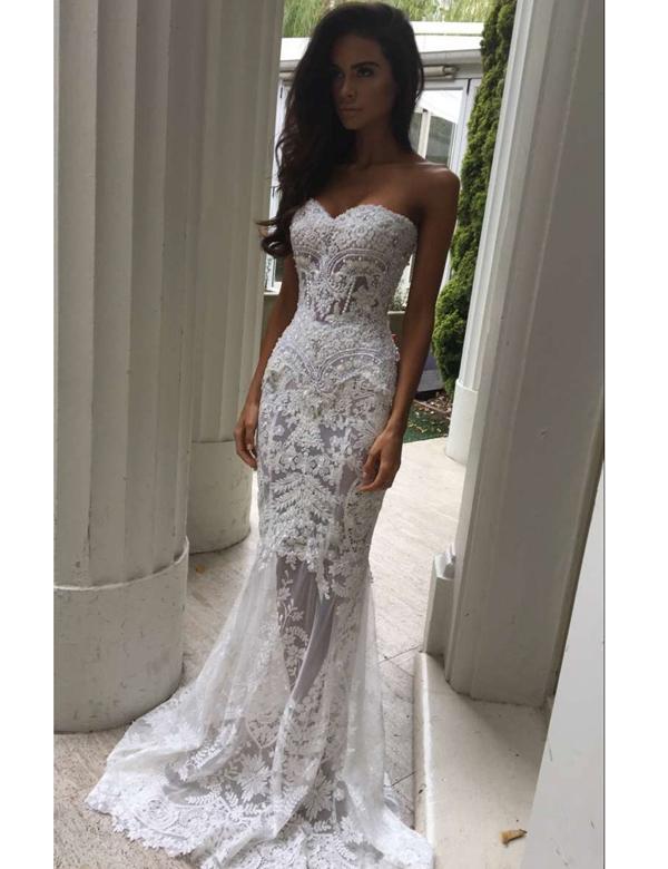 Modern Sweetheart Appliques Lace Mermaid Wedding Dresses