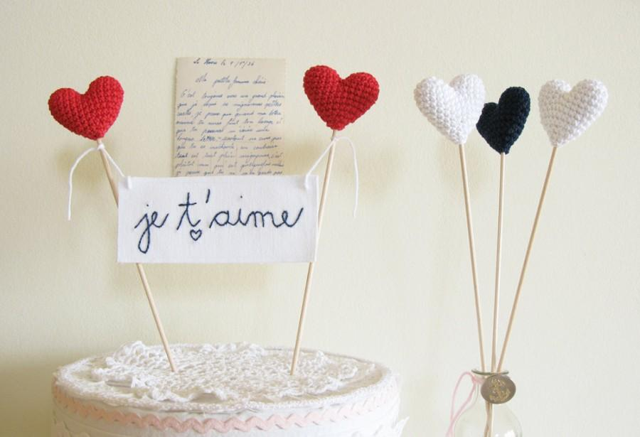Wedding - Wedding Cake Topper, Red Wedding Hearts, Je t'aime Cake Banner, Red Wedding Decoration