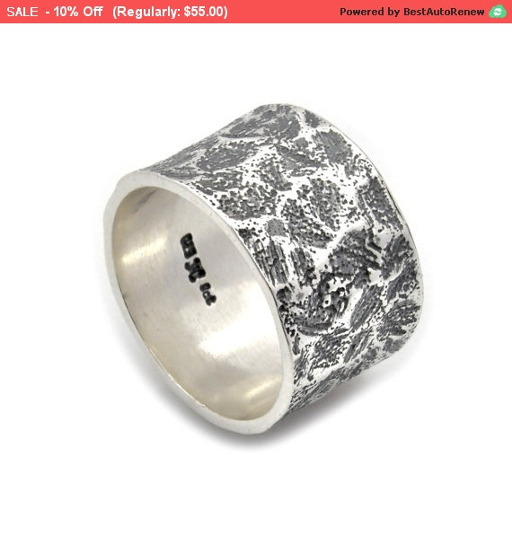 Sterling Silver Abstract Wedding Ring Band Unique Rustic Handmade