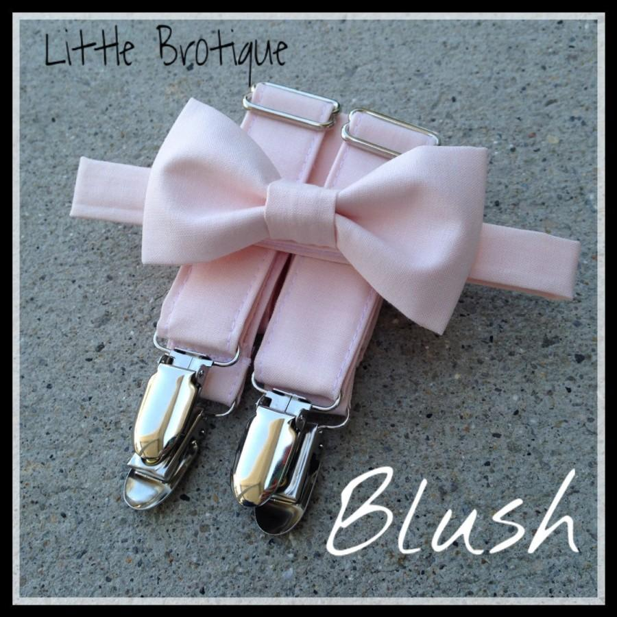 Hochzeit - Blush/ Petal Bow Tie and Suspender Set for men, boys, toddlers, and babies. Sent 3-5 days after you order