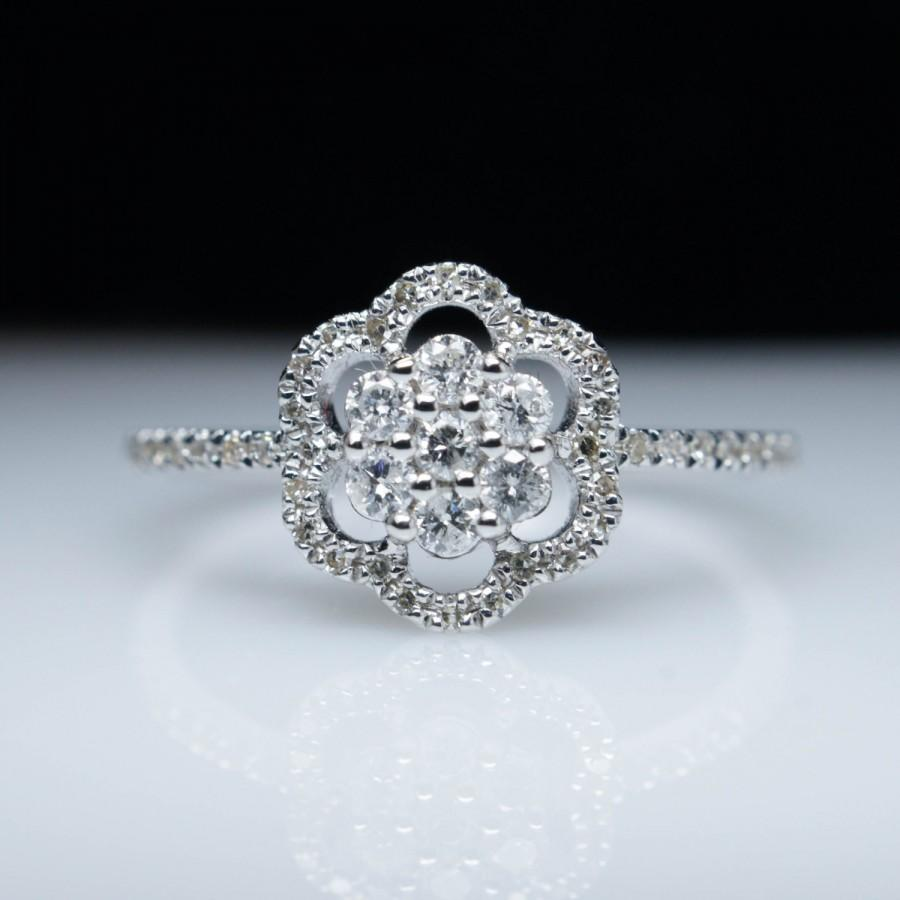 Petite Flower Snowflake Halo Diamond Engagement Ring In 14k White Gold Band  Snow Ring Winter Jewelry Frozen