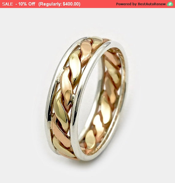 Mens Wedding Bands Fathers Day Sale 9ct Twist Gold Ring Three Tone Silver Gift For Him Band