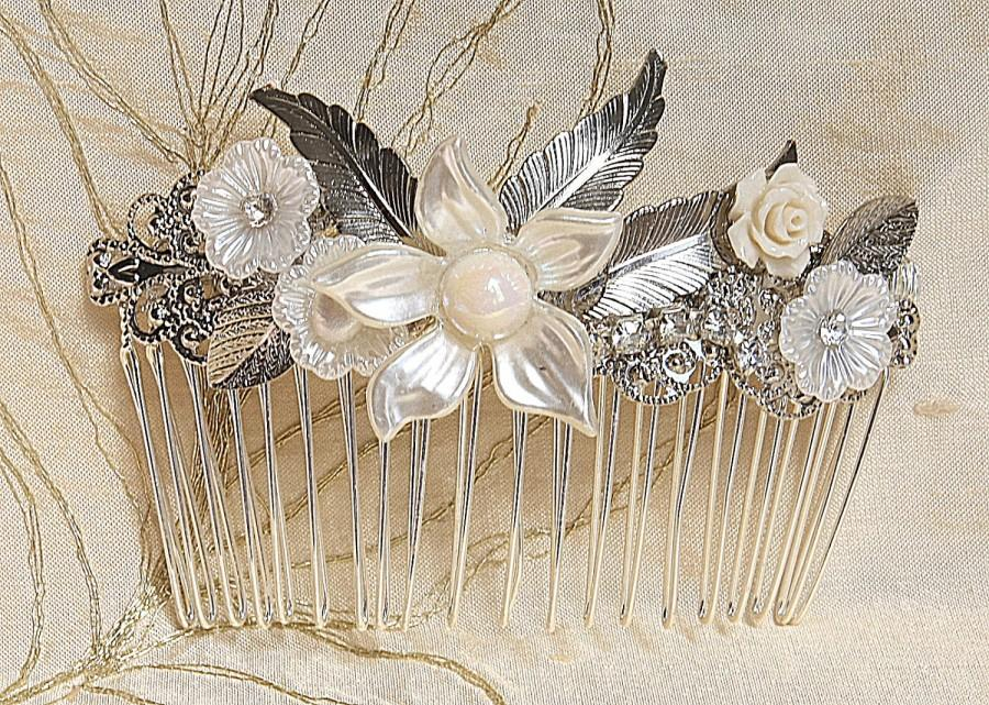 زفاف - Bridal hair comb bridal Silver Jewelry Vintage Ivory Flowers Leafs and Pearls Wedding side Hair Piece crystal pearl wedding Headband