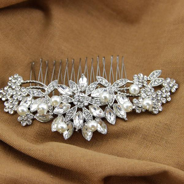 Mariage - Bridal Comb Pearl Headpiece wedding hair comb great gatsby Hair comb Bridal hair jewelry Wedding hair piece Bride hair accessories