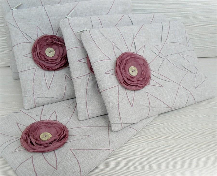 زفاف - Bridesmaids Gift Set of 7 Clutch Zipper Pouch Oatmeal Antique Mauve