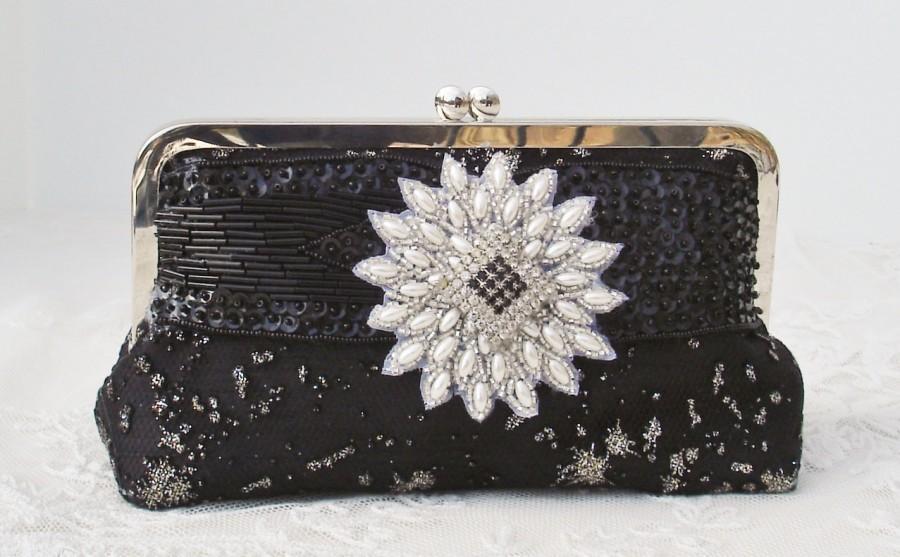 Свадьба - Mother of the Bride/ Bridal Handbag / 1920's Wedding / Black Handbag / Wedding Handbag