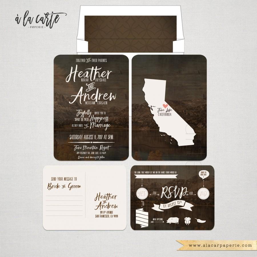 Rustic Wood Forest Wedding Invitation And Rsvp Postcard Destination California Subsute Your State Woodland