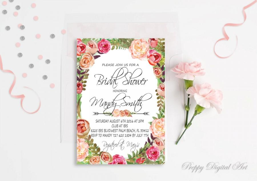 Wedding - Floral Bridal Shower Invitation Boho Bridal Shower Invite Floral Wreath Spring Bridal Party Summer Bridal Shower Rustic Typography Invite