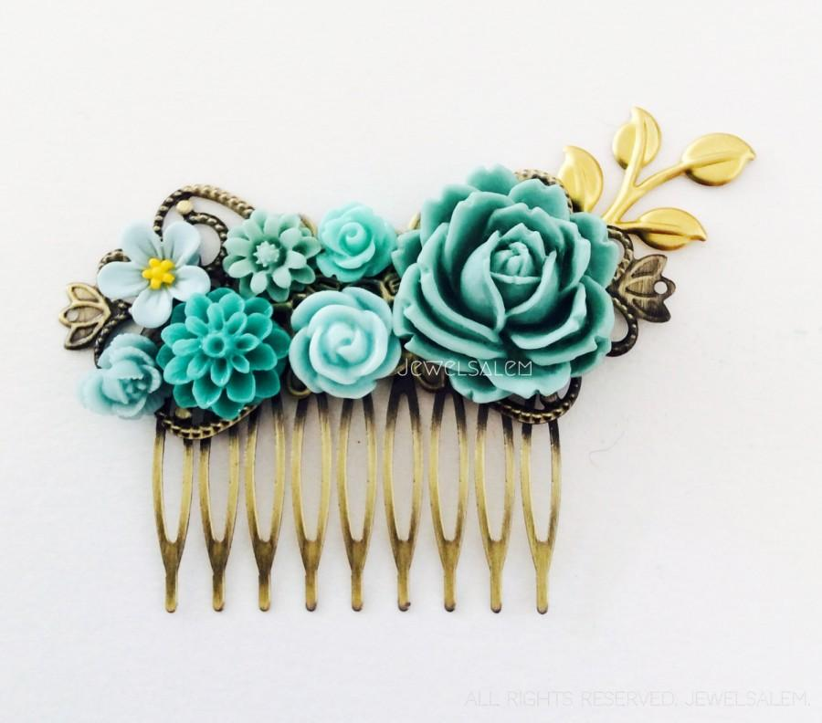 Mariage - Teal Hair Comb Aqua Wedding Turquoise Seafoam Mint Gold Leaf Bridesmaids Gift Bridal Head Piece Floral Flower Comb Vintage Style Shabby Chic
