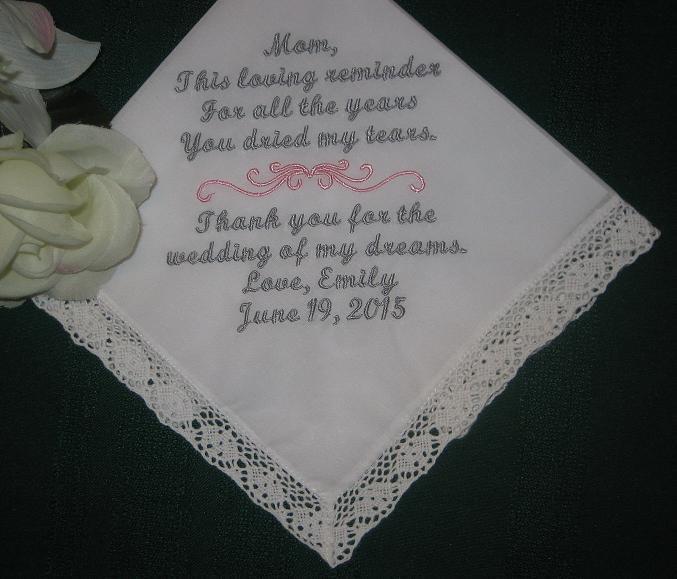Свадьба - Mother of the Bride, Personalized Wedding Handkerchief, Embroidered ladies hankie, hanky 116S