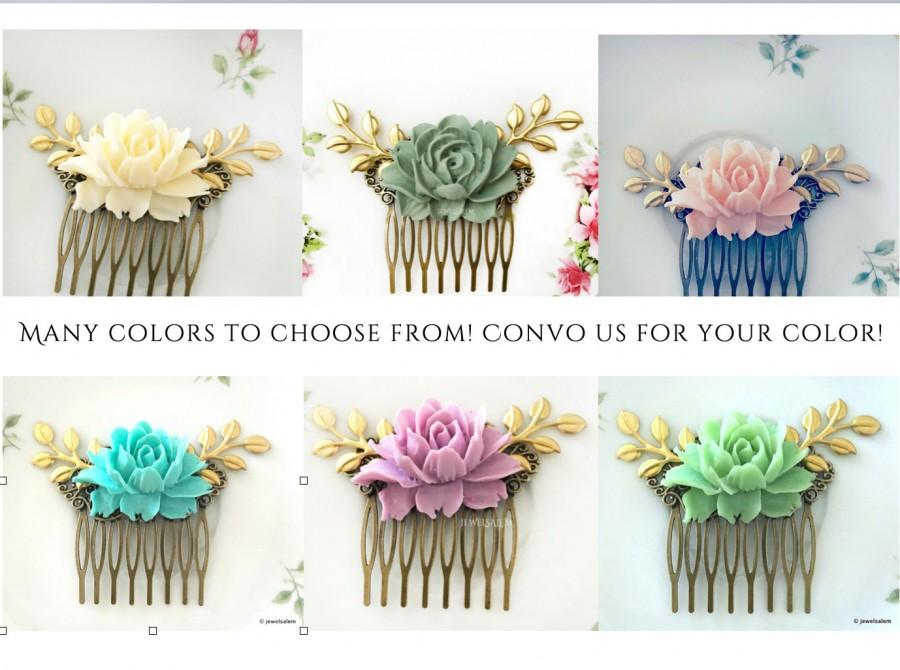 Свадьба - Personalised Bridal Hair Comb, Large Rose Gold Leaf Hair Comb, Bridesmaids Hair Clip, Flower Hair Slide, Customised Comb for Bride, Gift