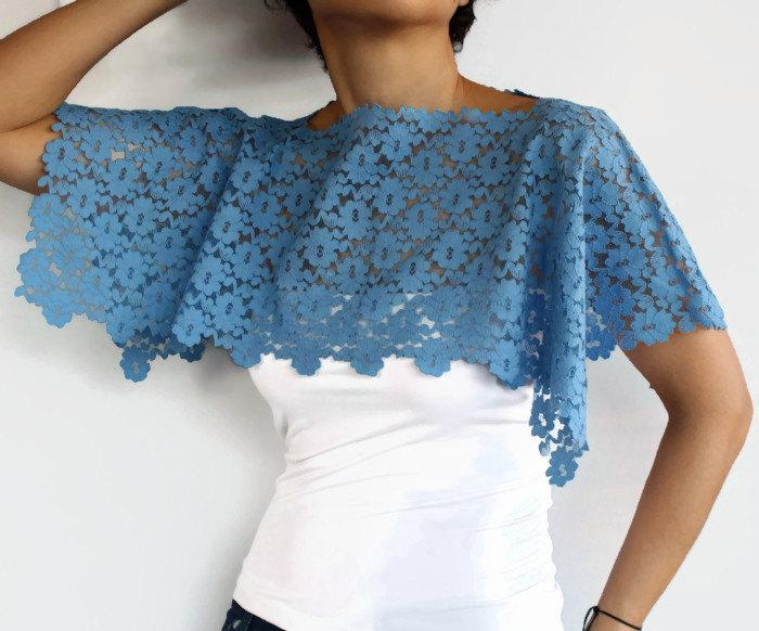 Mariage - Lace Shrug, Bridal Capelet, Blue Shoulder Shawl Lace Evening Shawl