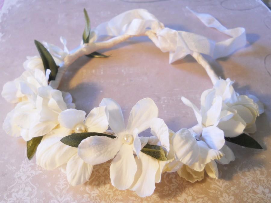 Свадьба - Flower Girl Ivory Hair Wreath First Communion Hair Piece Girls Hair Accessory Flower Girl Hair Wedding Party Flower Girl Hair Crown Ivory