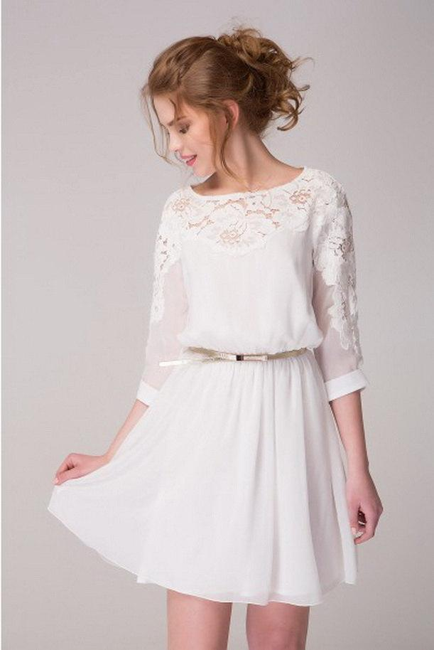 Wedding - Cute White Chiffon Dress With Lace Flowers Short Dress Bridesmaid Dress White Cocktail Wedding Party