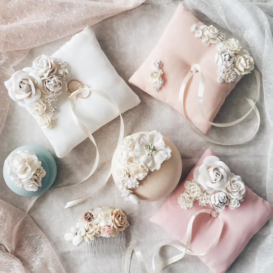 pillow image inches products wedding diamante flower satin ivory product ring