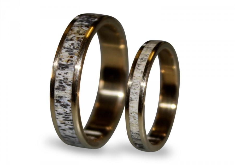 18k Gold Wedding Band Set With Deer Antler Antler Ring Inlaid In