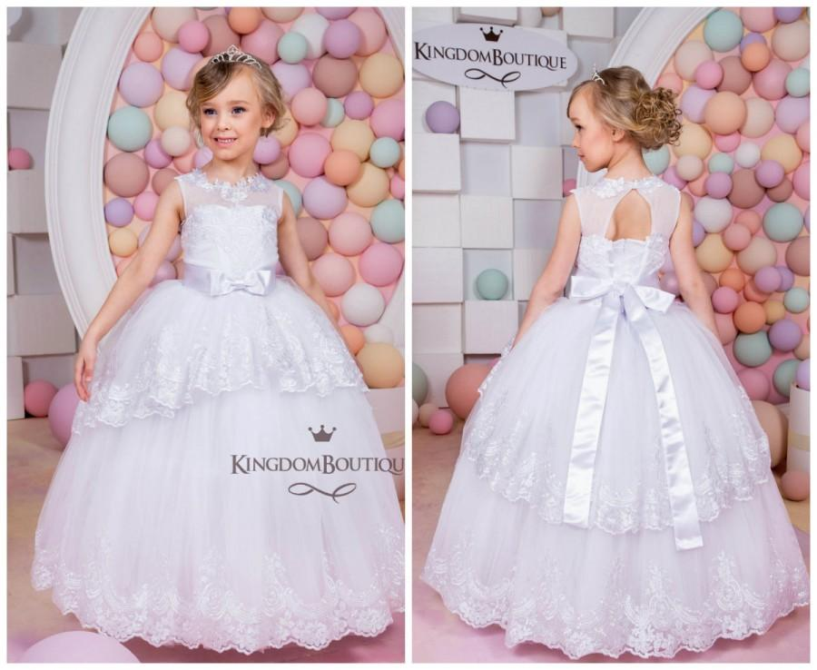 Mariage - White Lace Flower Girl Dress - Birthday Holiday Wedding Party Bridesmaid WhiteTulle Lace Flower Girl Dress