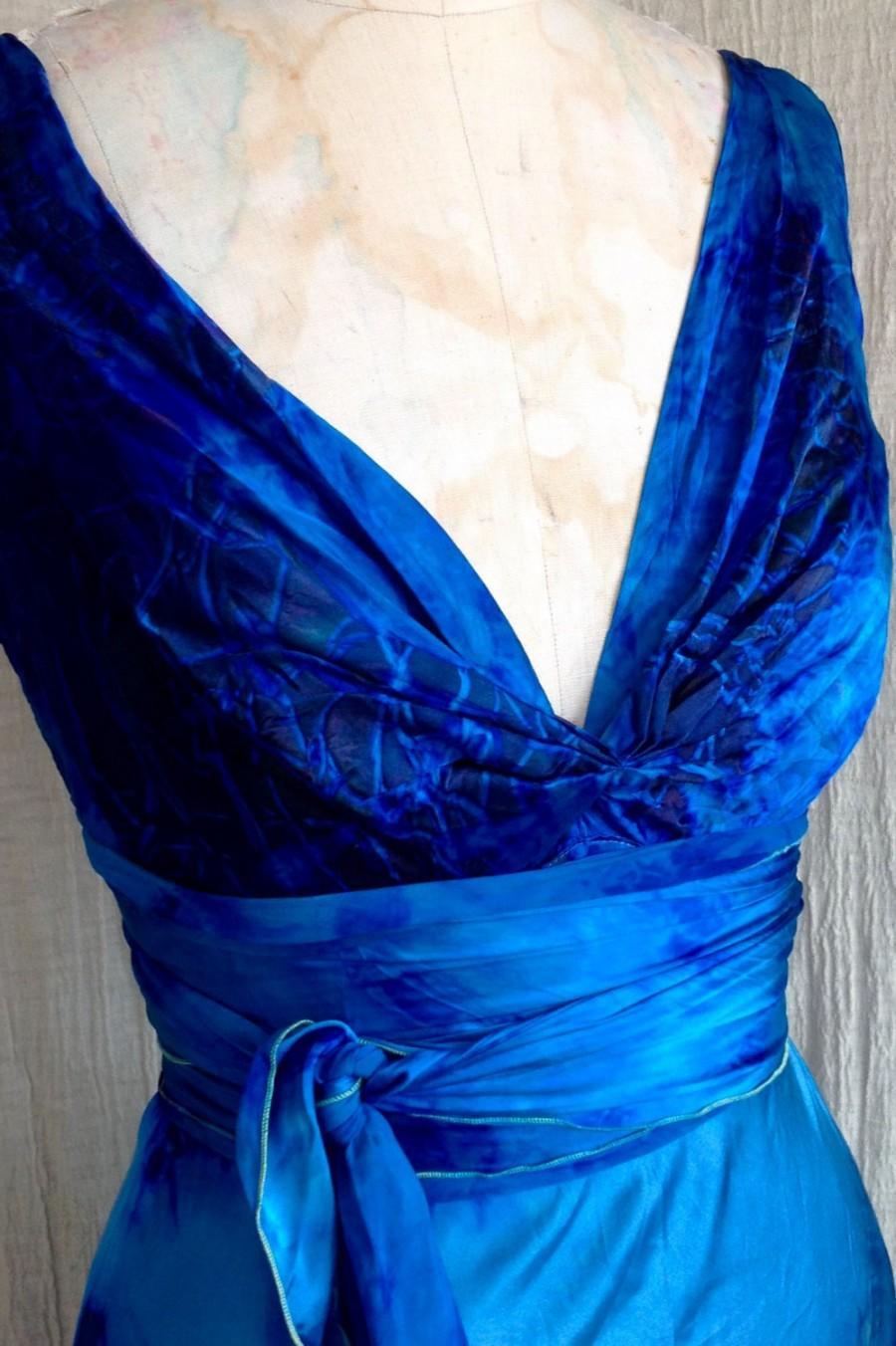 Wedding - On sale now was 995.00 now 895.00 Planet blue boho chic Henry dress tie dye silk gown beach wedding island bride