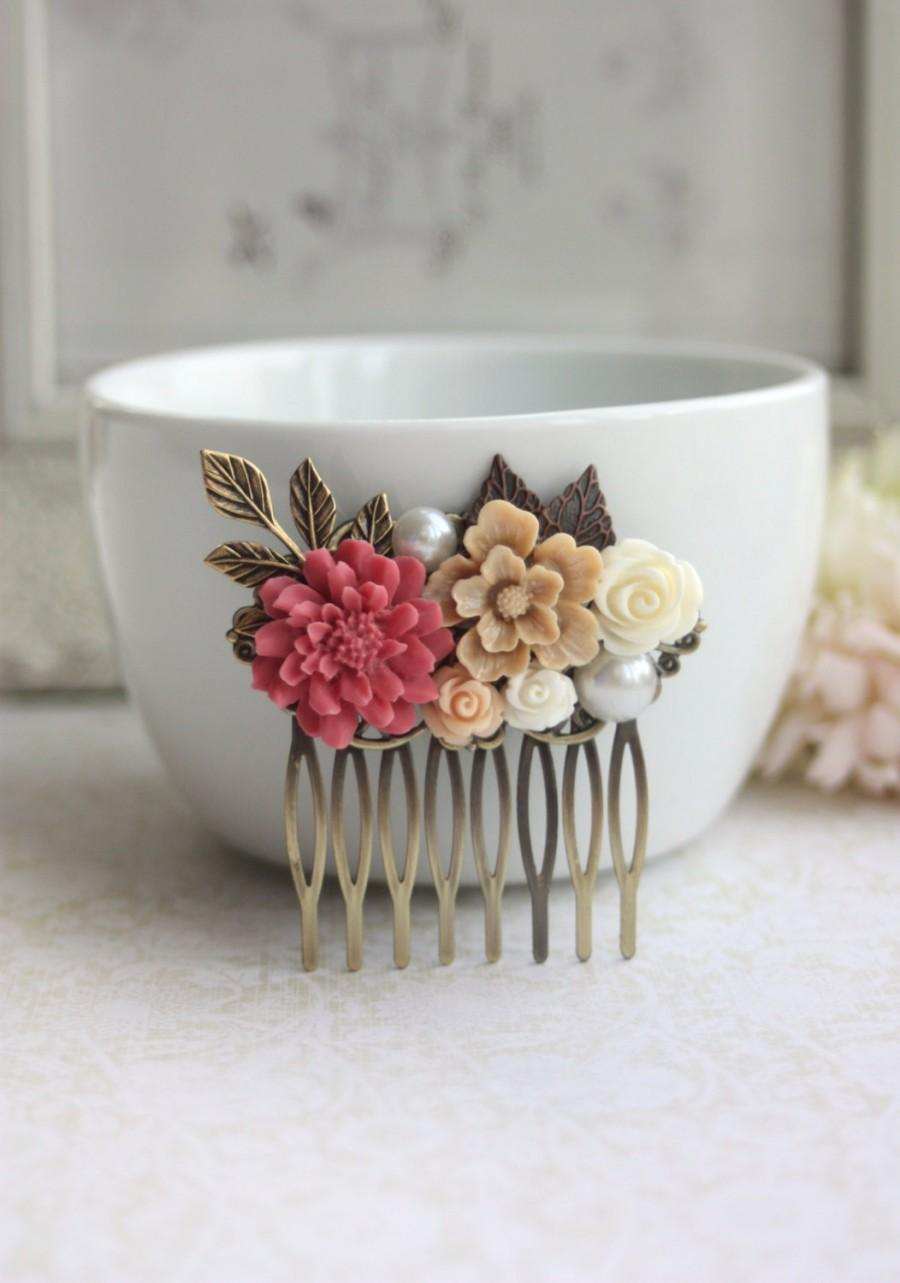 Mariage - A Shabby Nature Red Rustic, Brown Ivory Rose, Leaf, Vintage Style Collage Hair Comb. Maid Of Honor, Bridesmaids Gift. Country Wedding.