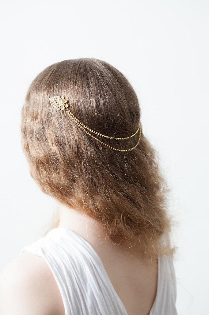 Hochzeit - Gold Wedding Headpiece - Bridal Hair Jewellery - Crystal Head band - Bohemian  Headpiece