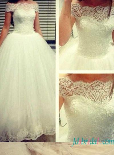 زفاف - H1579 Cinderella princess ball gown wedding dress with off shoulder neck