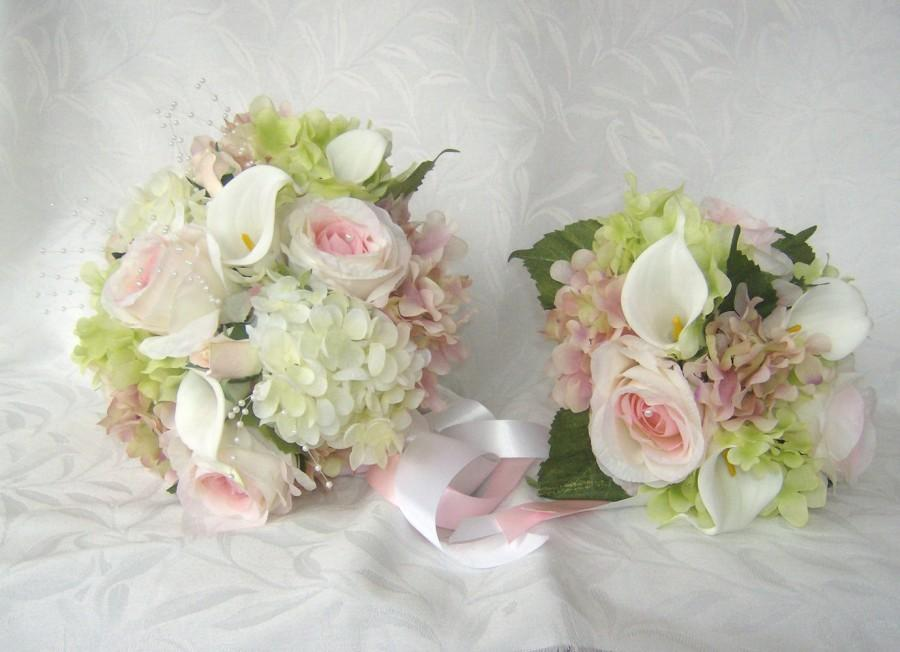 4 piece silk bridal bouquet pink and creme rose and calla lily 4 piece silk bridal bouquet pink and creme rose and calla lily wedding bouquet junglespirit Images