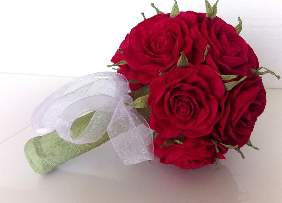 Bridal Bouquet Royal Red White Flower Girl Bouquet Wedding Paper ...