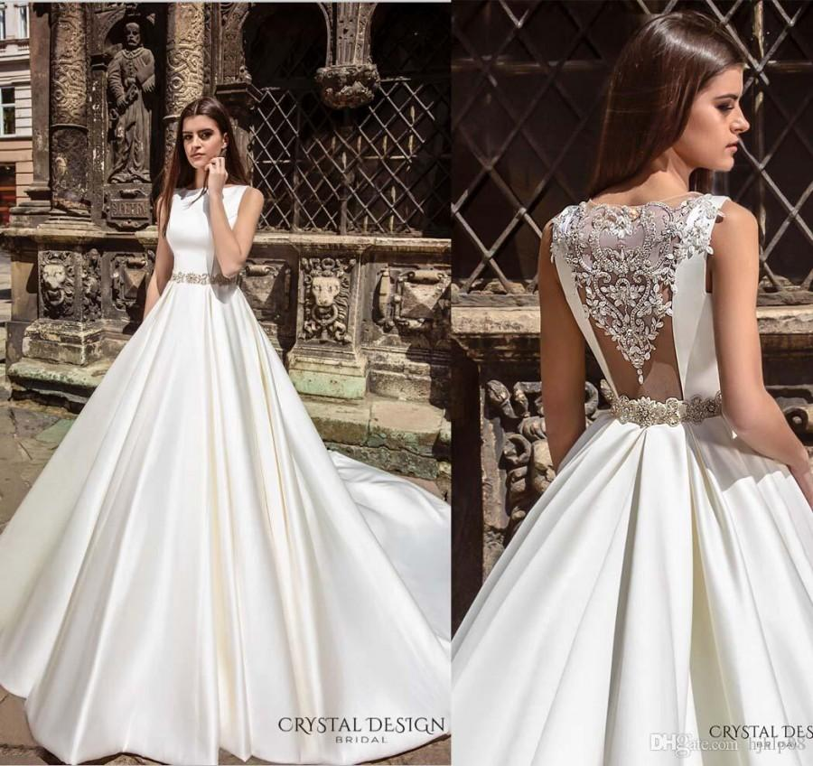 New Arrival Bateau Embellishments Accent Back Crystal Design 2016 Wedding Dresses Beaded Sash Bridal Ball Gowns Satin Dress Valencia Online With