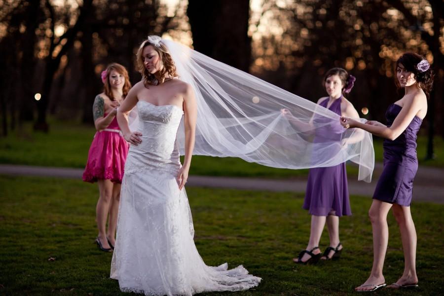 زفاف - Wedding Veil, Royal Cathedral veil 144 inches long, 108 inch wide cut edge Bridal Tulle Veil in white, ivory, diamond white, champagne
