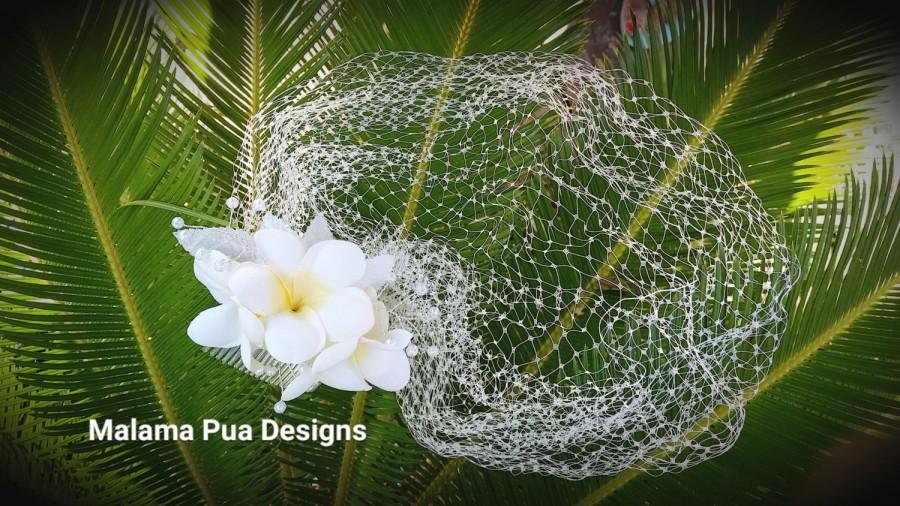 Wedding veil hawaiian plumeria pearls tropical headpiece bridal wedding veil hawaiian plumeria pearls tropical headpiece bridal accessory birdcage veil beach wedding silk hair flower clip bridal mightylinksfo